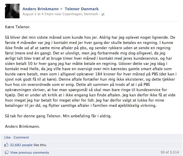 Ander Brinkmann klager til Telenor